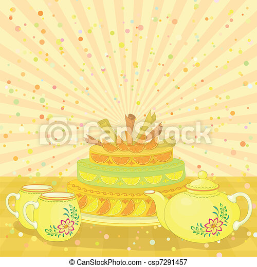 Cake, teapot and cups - csp7291457