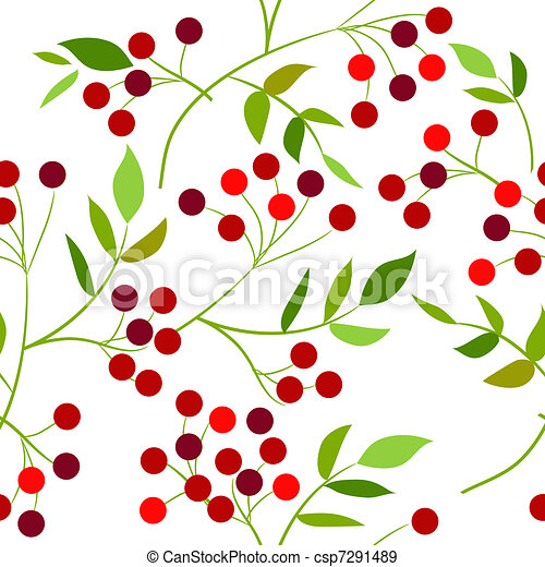 Seamless pattern with red berries and green leaves - csp7291489