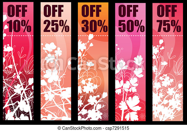Five vertical floral banners with silhouette branches - csp7291515