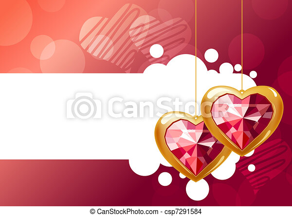 Two hanging jewel hearts on pink background - csp7291584