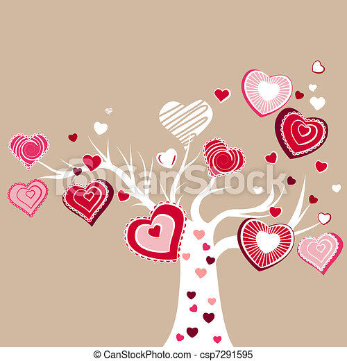 Stylized blooming tree with different red hearts - csp7291595