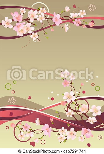 Spring frame with hearts, branches and abstract elements - csp7291744