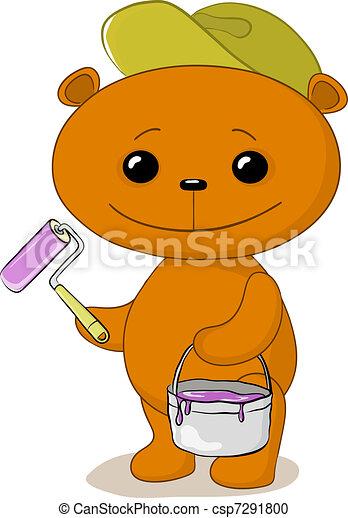 Teddy bear house painter - csp7291800
