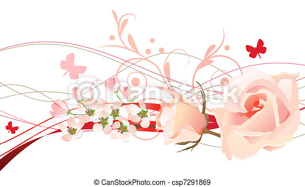 Floral design element with rosees and butterfly - csp7291869