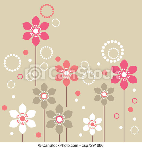 Stylized pink and white flowers on beige background - csp7291886