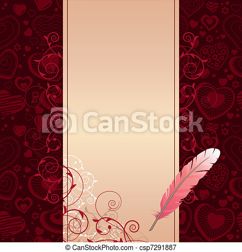 Pink feather and beige scroll on dark background with hearts - csp7291887