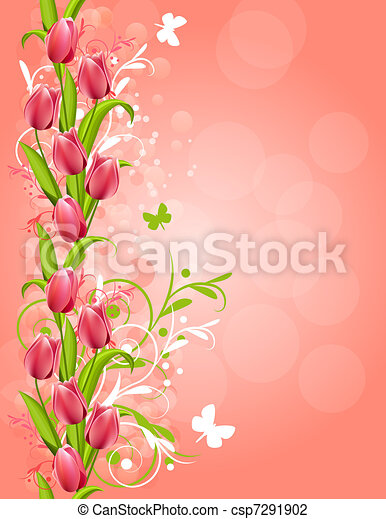 Vertical pink spring background with tulips and flourishes - csp7291902