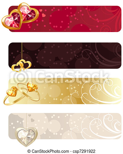 For horizontal banners with rings,puby and hearts - csp7291922