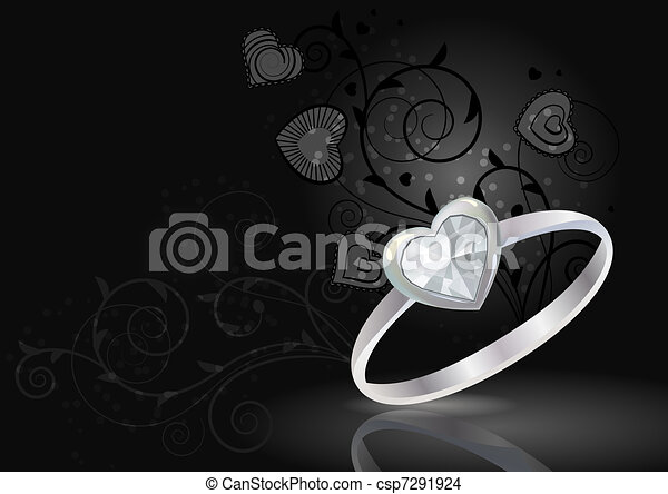 Silver ring with gem on luxury black background - csp7291924