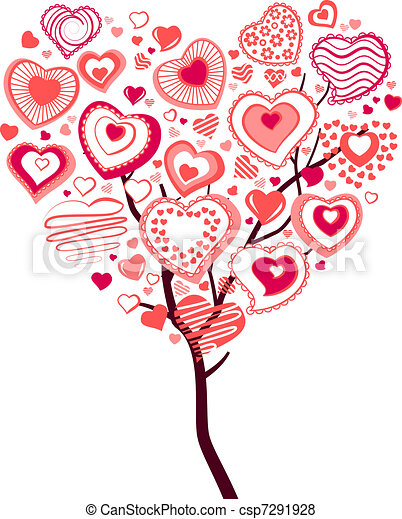 vecteur de coeur fait printemps floraison arbre ceux grand petit csp7291928. Black Bedroom Furniture Sets. Home Design Ideas