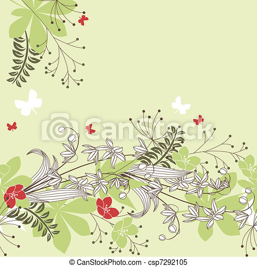 Forest Plants Drawings Seamless Patten With Forest