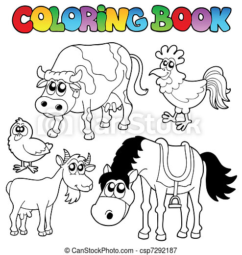 Coloring book with farm cartoons - csp7292187