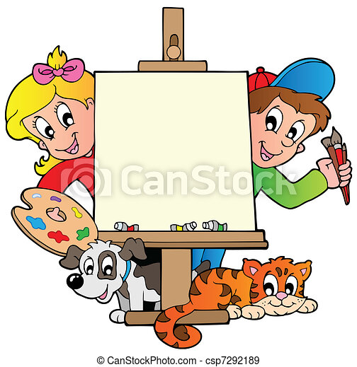 Cartoon kids with painting canvas - csp7292189