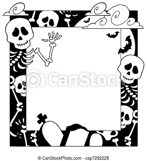 Frame with Halloween topic 4 - csp7292228