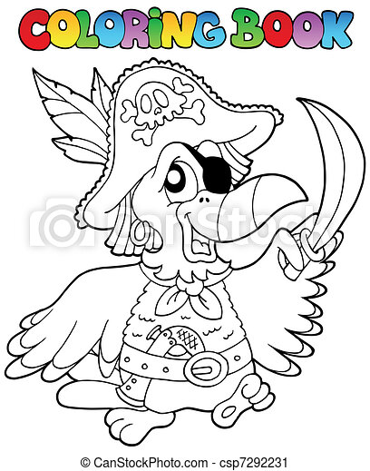 Coloring book with pirate parrot - csp7292231