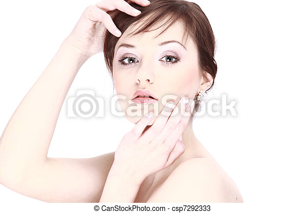 Portrait of young adult woman with health skin of face  - csp7292333