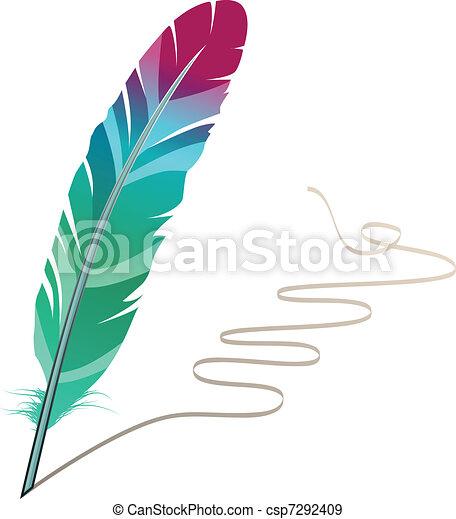 Many-coloured feather isolated on white background with flourish - csp7292409