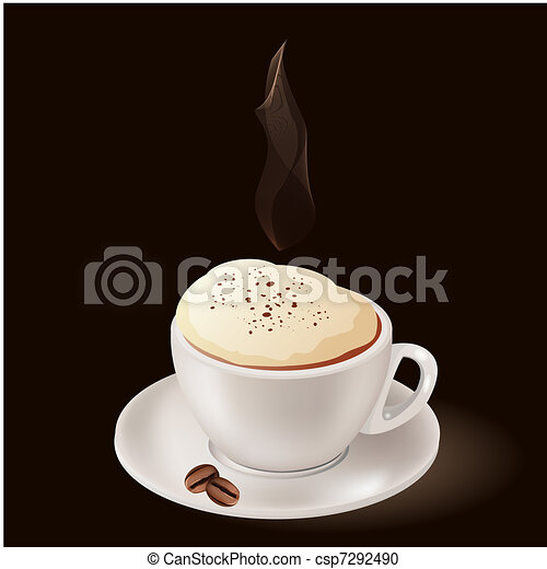 Cup of hot coffee with steam on black background - csp7292490