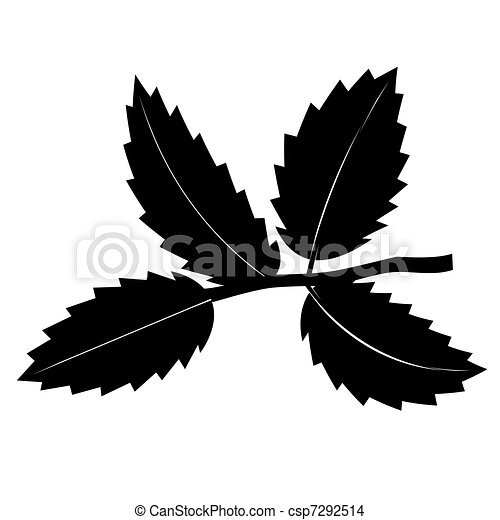EPS Vector of Small abstract rose twig with leaves. Monochrome ...