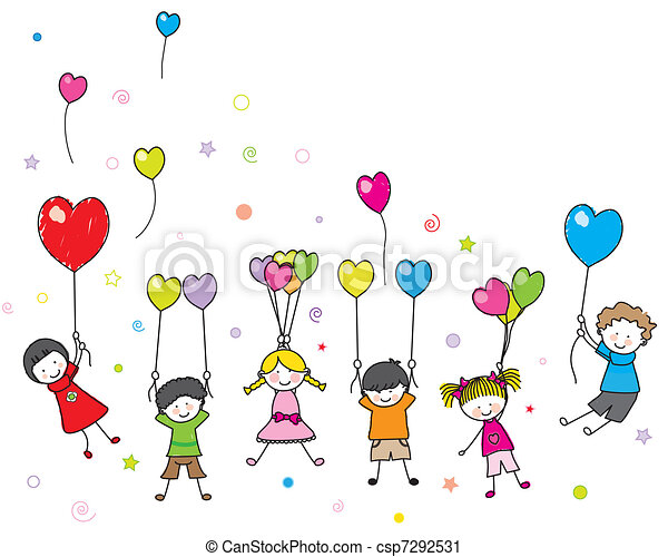 Children with Balloons Clip Art : 幼児 勉強 : 幼児