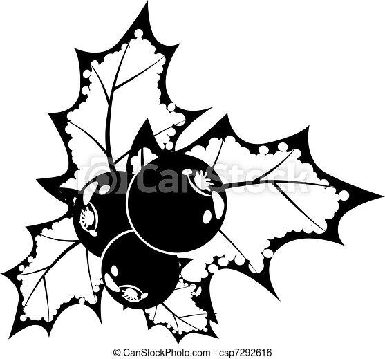 Clip art vecteur de noir et blanc houx baie noir et for Dessin graphique noir et blanc