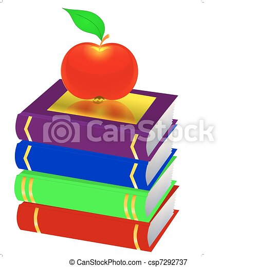 pile books and apple are - csp7292737