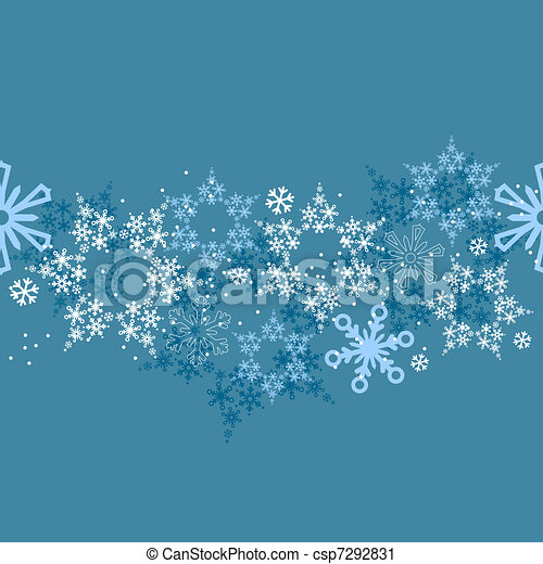 Vector Clip Art of border with different snowflakes - Seamless blue ...