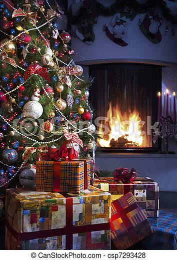 木, クリスマス, 贈り物 - csp7293428