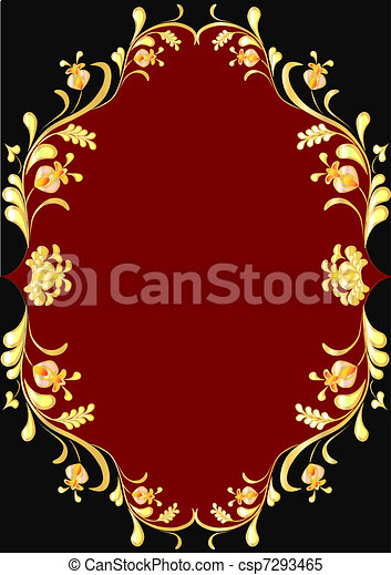 frame from gilded floral ornament - csp7293465
