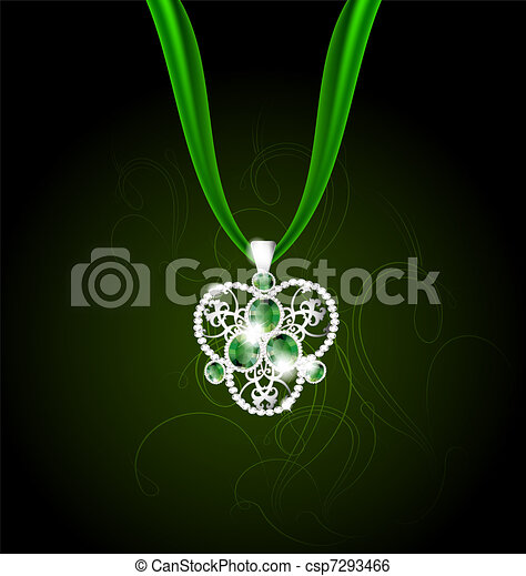 jewelry pendant with green gems - csp7293466