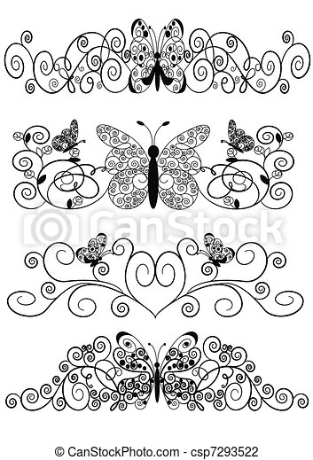 pattern from spirals butterfly and sheet - csp7293522
