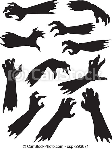 Scary zombie hands silhouettes set. - csp7293871