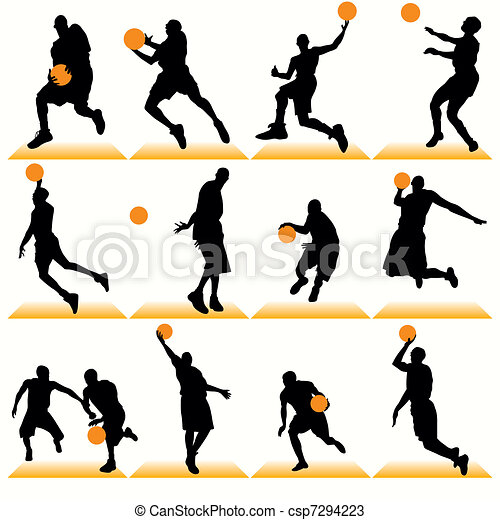 Basketball Players Silhouettes Set - csp7294223