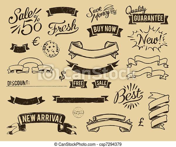 Vintage sale icons set - csp7294379
