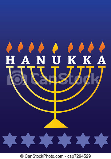 Holiday Hanukkah; lighted Menorah - csp7294529