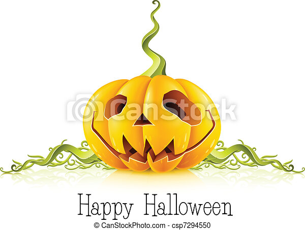 pumpkin for halloween on white background - csp7294550