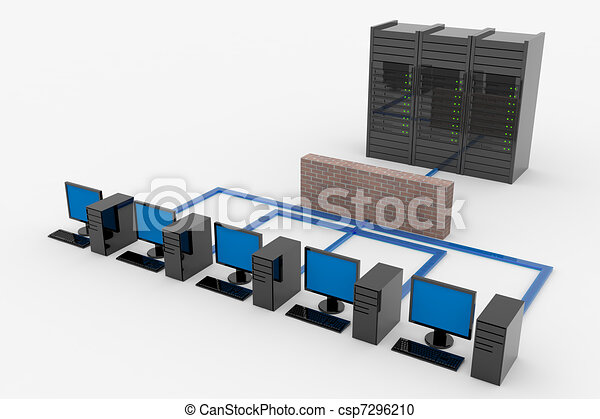 Computer network with server and firewall - csp7296210