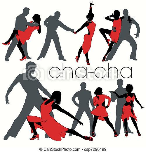 Cha-cha Dancers Silhouettes Set - csp7296499