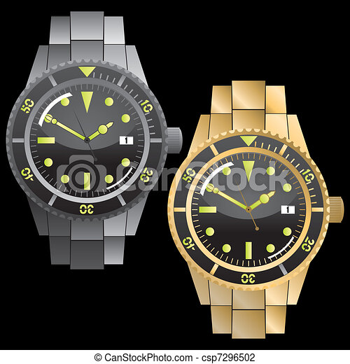 Vector Illustration of Chronograph Watches Set csp7296502 - Search ...