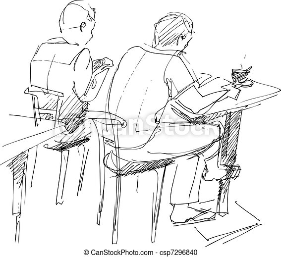 there are two fellows at the table - csp7296840