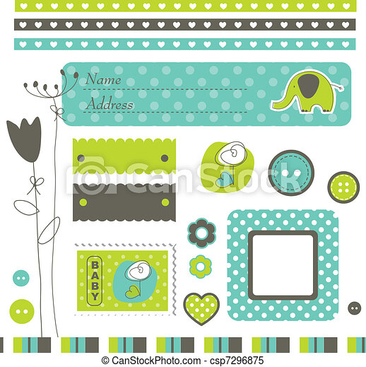 Cute elements for scrapbook, cards - csp7296875