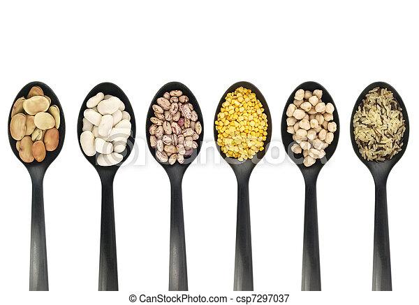 cucharas, legumbres, encima - csp7297037