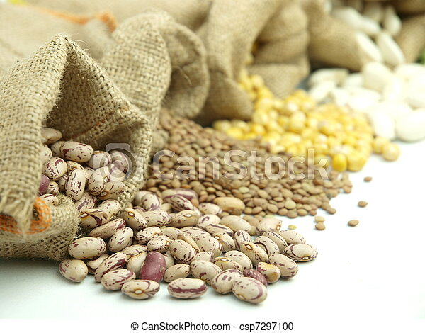 Burlap sacks with a misc legumes