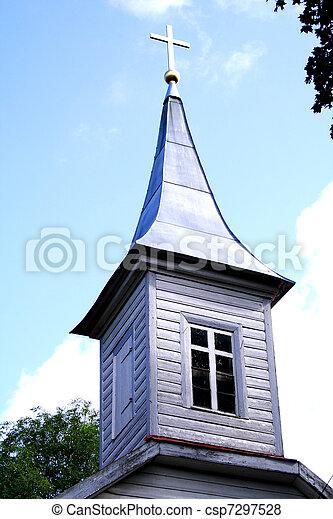 igreja, torre, iluminado, crucifixos, telhado - csp7297528