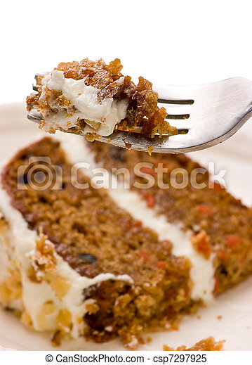 Walnut Carrot Cake On A Fork - csp7297925