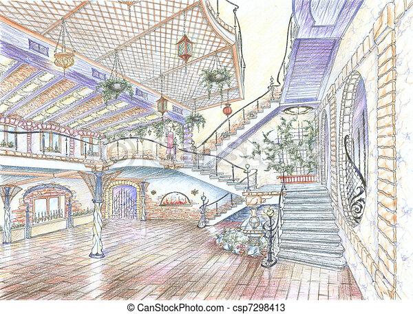 Interior of restaurant hall - csp7298413