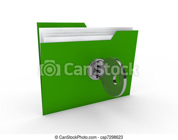 3d folder document green - csp7298623