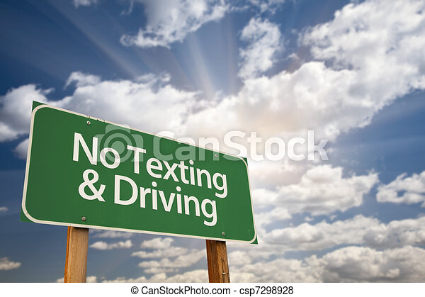 No Texting and Driving Green Road Sign - csp7298928