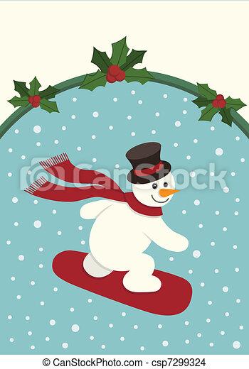 Snowboarding Snowman - csp7299324