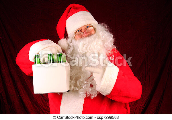 Santa Claus with Six Pack of Beer - csp7299583